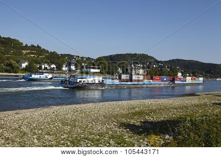 Dattenberg (germany) - Ship Traffic On The Rhine River