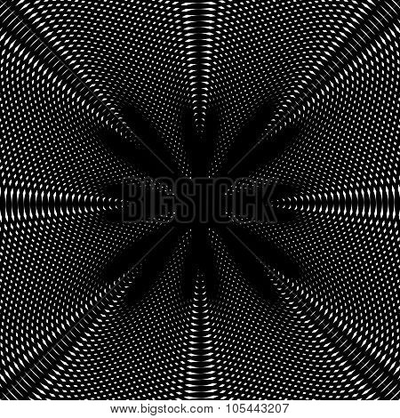 Optical Illusion, Vector Creative Black And White Graphic Moire Backdrop. Decorative Lined Hypnotic