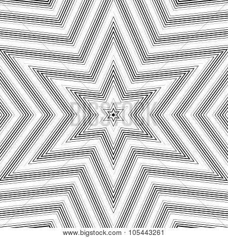 Optical Illusion, Vector Moire Background, Abstract Lined Monochrome Tiling. Unusual Geometric Patte