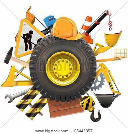Vector Construction Concept With Wheel