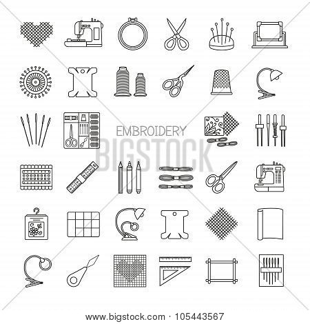 Needlework Line Icons Set. Cross Stitch And Fancywork Supplies And Accessories.embroidery Kit, Needl