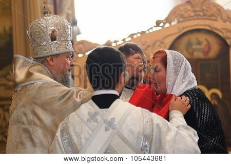 Orel, Russia - September 13, 2015: Orthodox Church Family Day. Eucharist In Divine Service In Bogoya