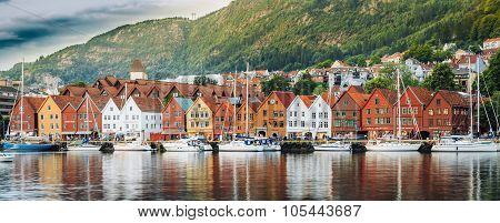Panoramic view of historical architecture, buildings, Bryggen in