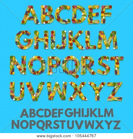 Vegetables letters, font