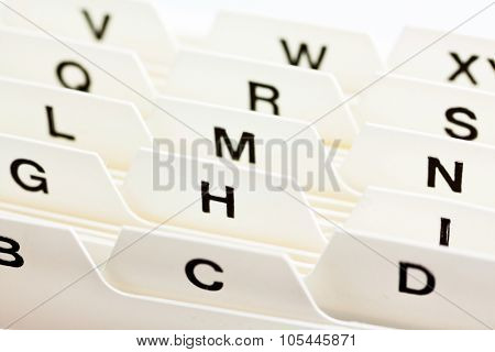 alphabetical index for sorting cards. customer addresses and patient data.