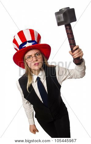 Woman wearing hat with american symbols