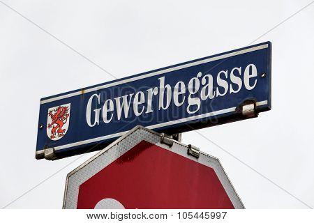 a street in a city called gewerbegasse.