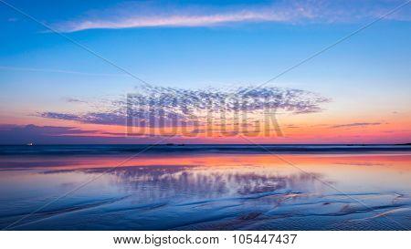 Panorama of sunset on beach. Goa, India