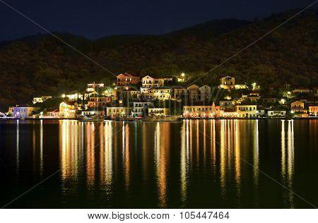 night photo of Vathy Ithaca Greece