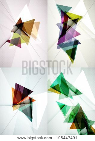 Set of angle and straight lines design abstract backgrounds. Geometric shapes, triangles with light effects
