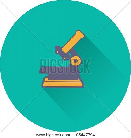 Professional laboratory optical microscope. Vector illustration