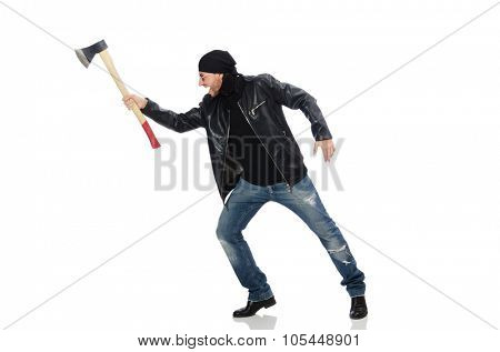 Angry man with axe isolated on white