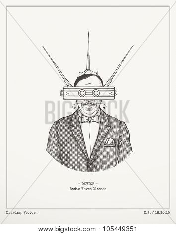 Radio waves glasses.Vector