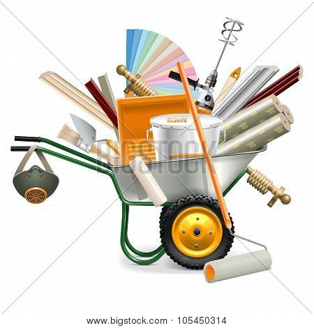 Vector Wheelbarrow With Painting Tools