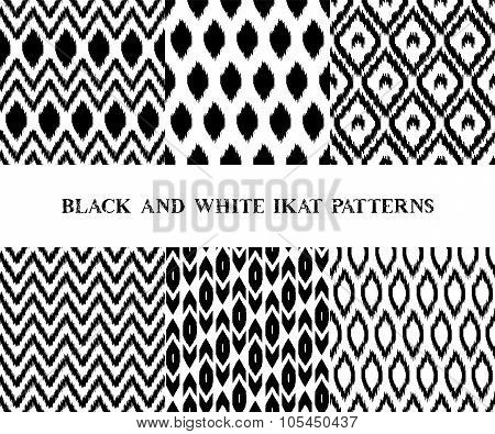 Black and white geometric ikat asian traditional fabric seamless patterns set of six, vector
