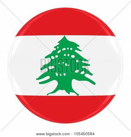Lebanese Flag Badge - Flag Of Lebanon Button Isolated On White
