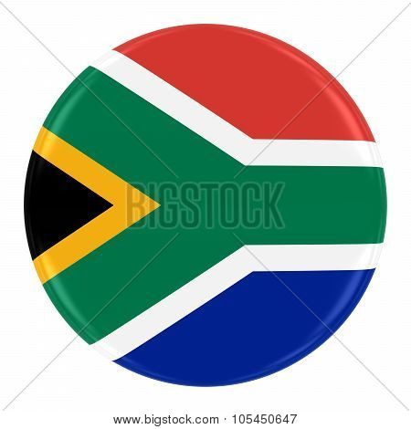 South African Flag Badge - Flag Of South Africa Button Isolated On White