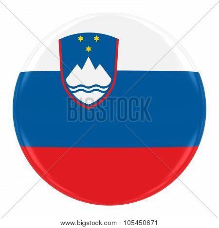 Slovenian Flag Badge - Flag Of Slovenia Button Isolated On White