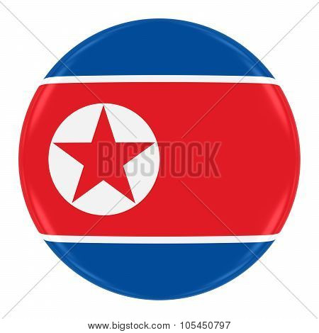 North Korean Flag Badge - Flag Of North Korea Button Isolated On White