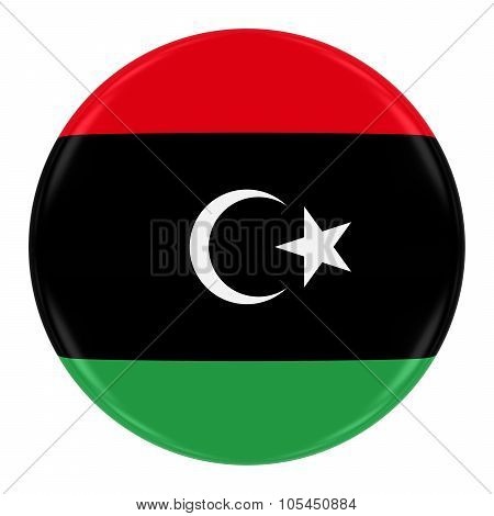Libyan Flag Badge - Flag Of Libya Button Isolated On White