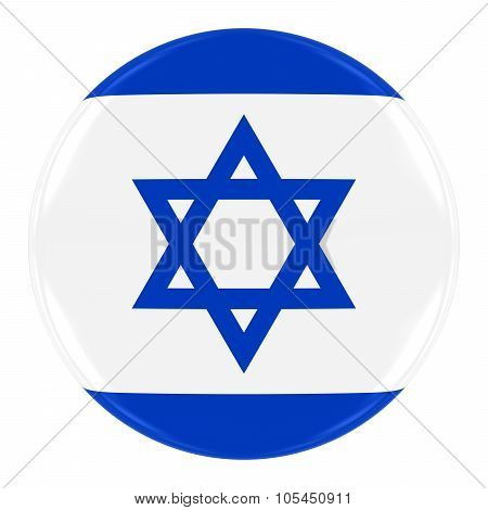 Israeli Flag Badge - Flag of Israel Button Isolated on White
