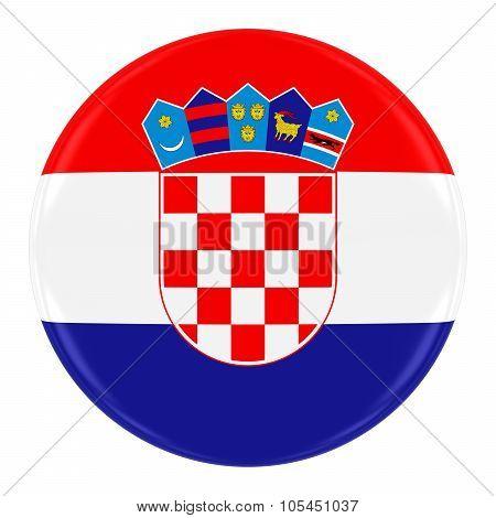 Croatian Flag Badge - Flag Of Croatia Button Isolated On White