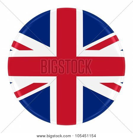 Union Jack Flag Badge - Flag Of The United Kingdom Button Isolated On White