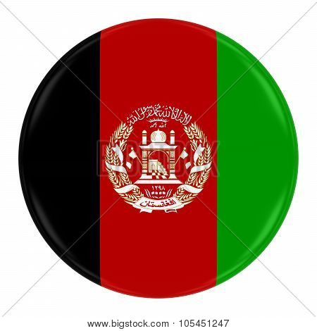 Afghanistani Flag Badge - Flag Of Afghanistan Button Isolated On White
