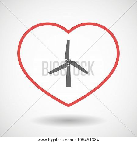 Line Heart Icon With A Wind Generator