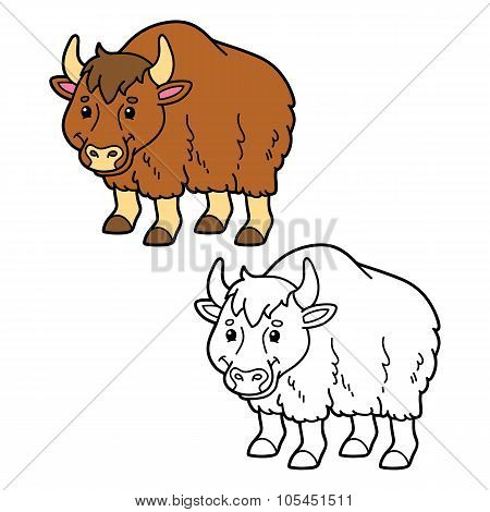 funny yak coloring page