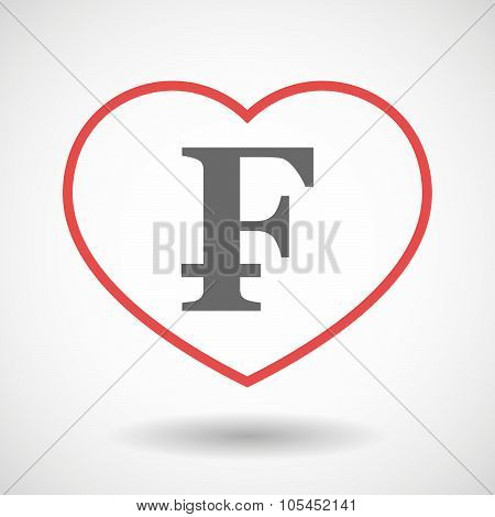 Line Heart Icon With A Swiss Franc Sign
