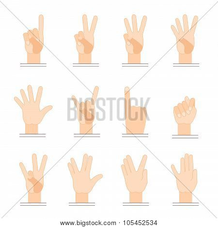 Gestures of hands. Flat design.