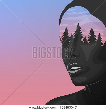 Beauty Woman with double Exposure Face