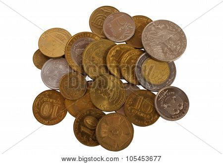 Lots of coins on a white background