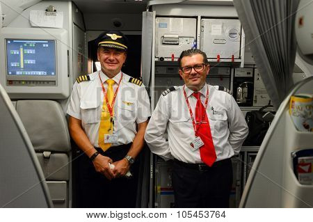 PRAGUE, CZECK REPUBLICK - AUGUST 16, 2015: pilots of Czech Airlines after flight. CSA Czech Airlines a.s is the national airline of the Czech Republic.