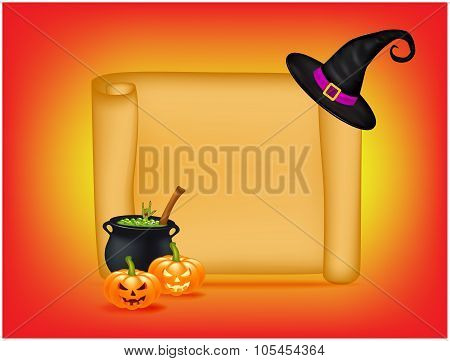 Halloween Banner, Card With Empty Paper Scroll And Witches Cauldron, Green Potion, Pumpkin. Blank An