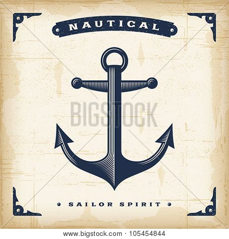 Vintage Anchor. Editable EPS10 vector illustration. Use gradient mesh and transparency.