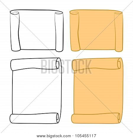 Paper Scroll Clipart, Outline Set Vector Isolated On White Background. Empty, Blank Parchment Rolled