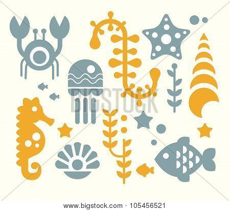 Sea Inhabitants and Plants Vector Illustration Set in Flat Style