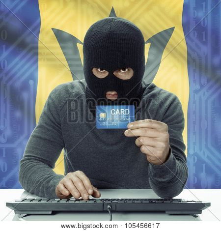 Dark-skinned Hacker With Flag On Background Holding Credit Card - Barbados