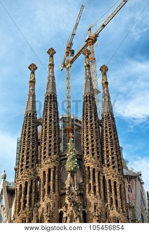 BARCELONA, SPAIN - MAY 02: Gothic exterior of the Sagrada Familia, Barcelona, Spain designed in modernist style and a popular historic tourist landmark although still under construction. May 02, 2015.