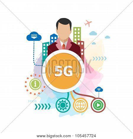 5G Design For The Advertising, Print, Banner.