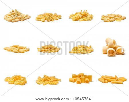 collection of different kind of italian pasta