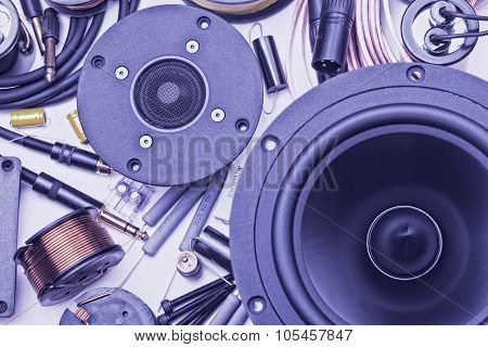 closeup of electric speakers parts