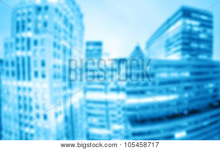 Blurred Office At Night, Abstract Business Concept.