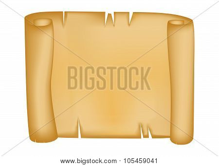 Paper Scroll Vector Isolated On White Background. Empty Parchment Rolled Up Scroll, Old Paper Sheet