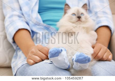 Young woman holding cat in socks, close-up