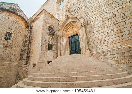 Stairs of Dominican Monastery in oldtown Dubrovnik in Croatia