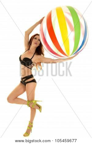 Woman With Red Hair Black Bikini Ball Leg Up