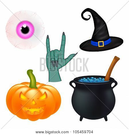 Halloween Cartoon Vector Set, Symbols Collection. Set Of Vector Objects, Pumpkins, Witch Hat Cauldro